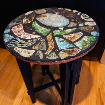 Mixed Media Round Raku Table